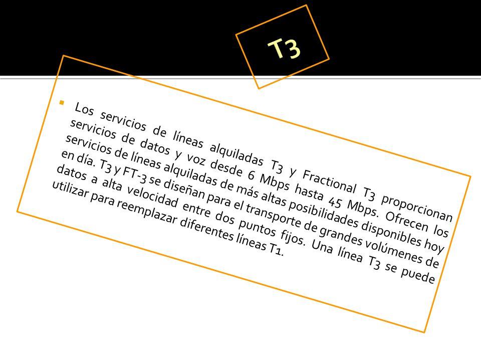 Los servicios de líneas alquiladas T3 y Fractional T3 proporcionan servicios de datos y voz desde 6 Mbps hasta 45 Mbps. Ofrecen los servicios de línea