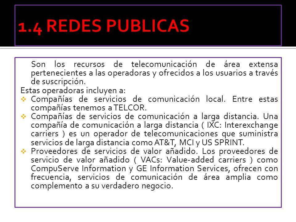 Son los recursos de telecomunicación de área extensa pertenecientes a las operadoras y ofrecidos a los usuarios a través de suscripción. Estas operado