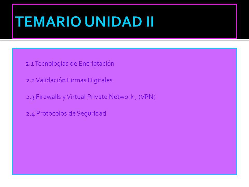 2.1 Tecnologías de Encriptación 2.2 Validación Firmas Digitales 2.3 Firewalls y Virtual Private Network, (VPN) 2.4 Protocolos de Seguridad