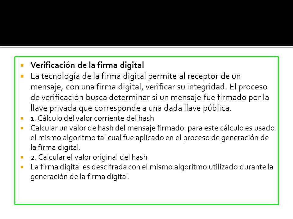 Verificación de la firma digital La tecnología de la firma digital permite al receptor de un mensaje, con una firma digital, verificar su integridad.