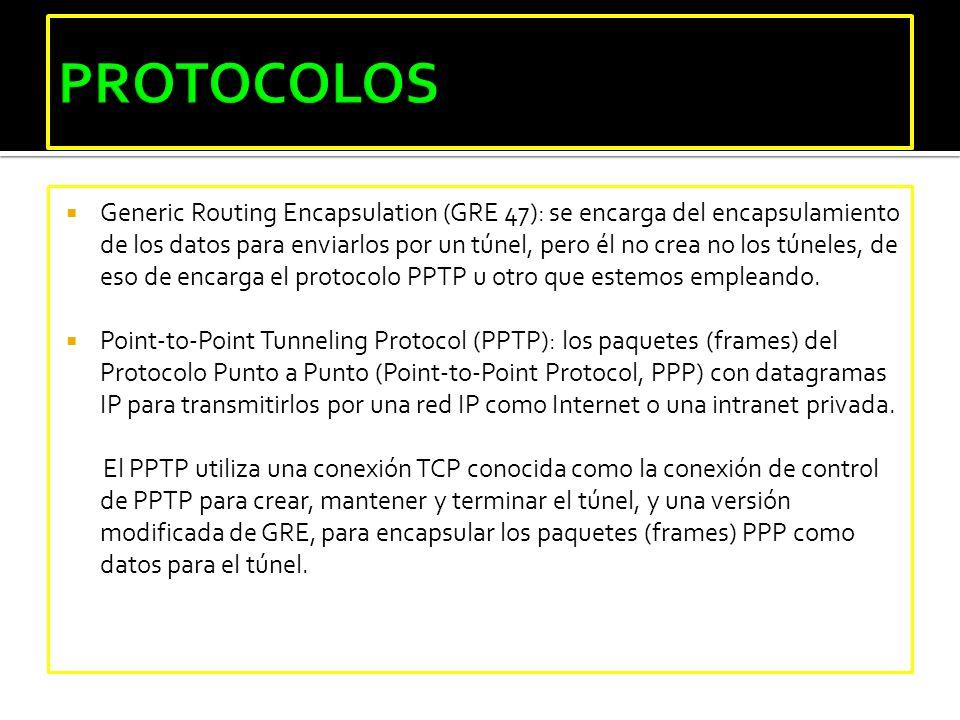 Generic Routing Encapsulation (GRE 47): se encarga del encapsulamiento de los datos para enviarlos por un túnel, pero él no crea no los túneles, de es