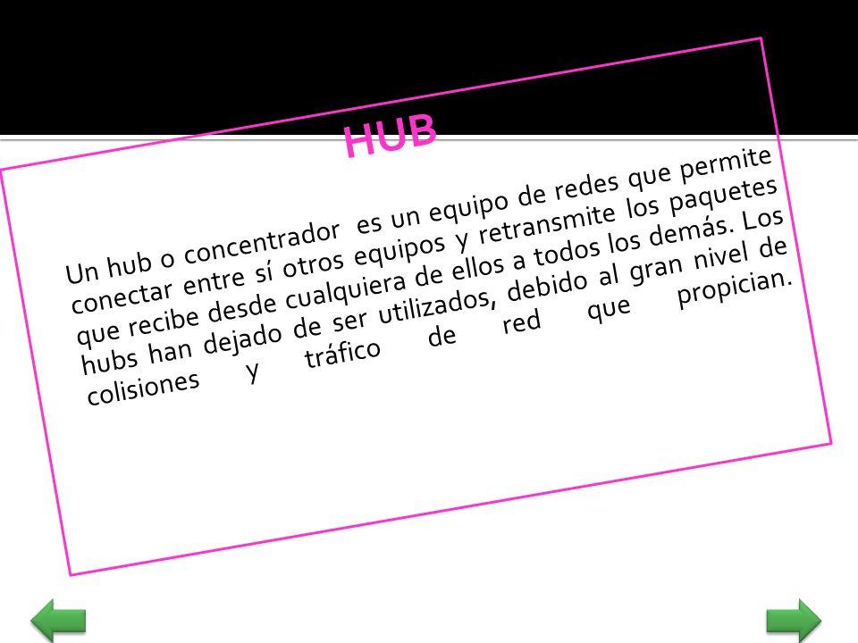 HUB Un hub o concentrador es un equipo de redes que permite conectar entre sí otros equipos y retransmite los paquetes que recibe desde cualquiera de