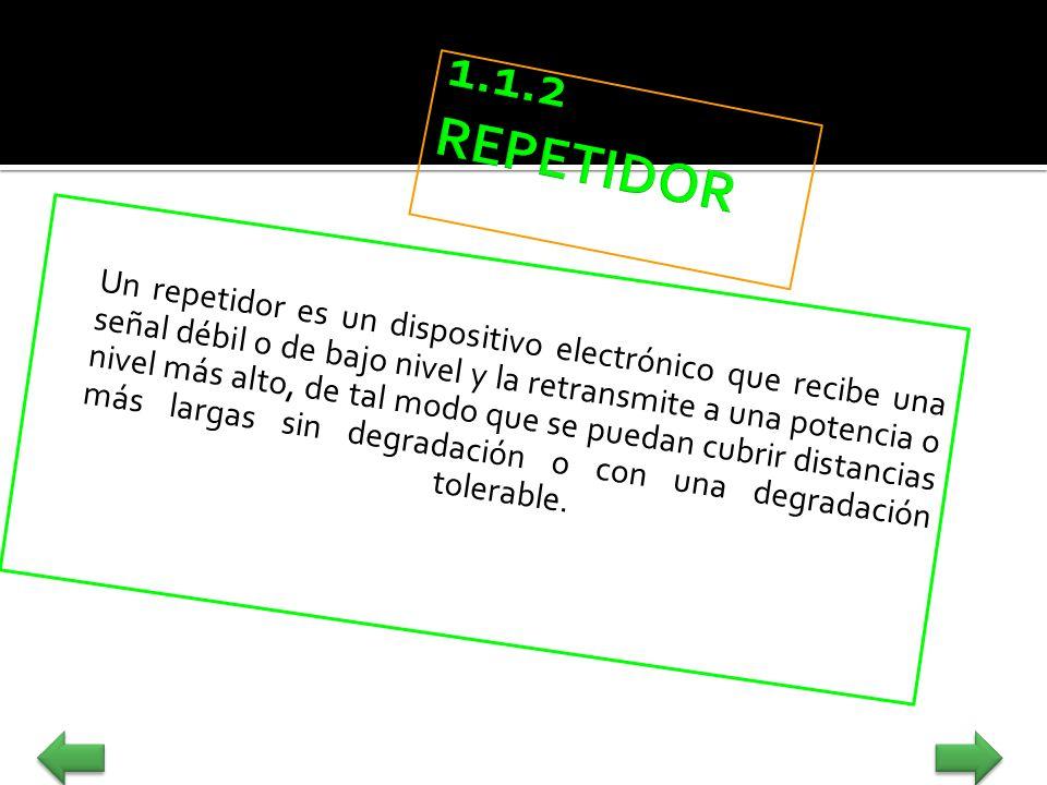Un repetidor es un dispositivo electrónico que recibe una señal débil o de bajo nivel y la retransmite a una potencia o nivel más alto, de tal modo qu