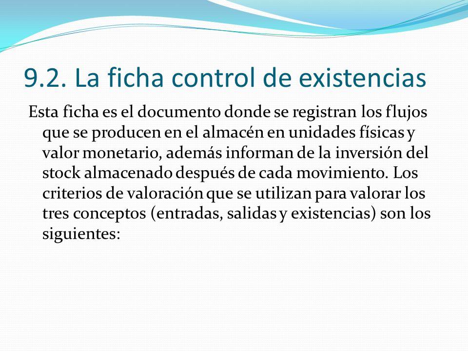 9.2. La ficha control de existencias Esta ficha es el documento donde se registran los flujos que se producen en el almacén en unidades físicas y valo