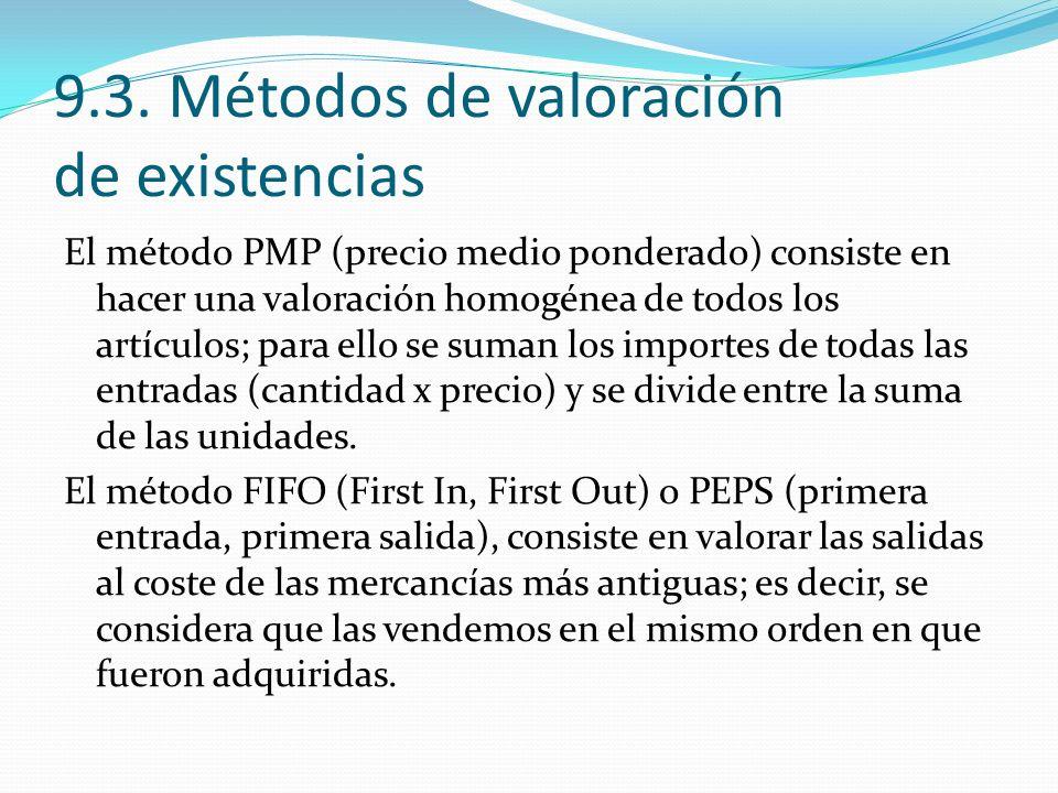 9.3. Métodos de valoración de existencias El método PMP (precio medio ponderado) consiste en hacer una valoración homogénea de todos los artículos; pa