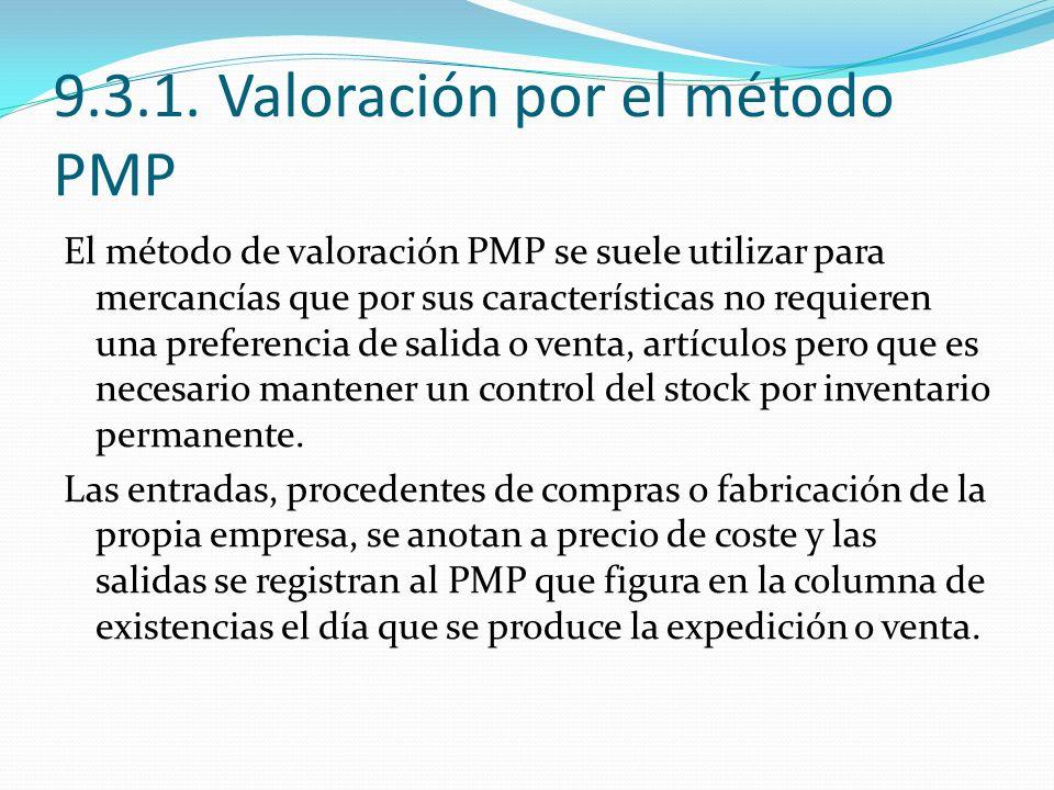 9.3.1. Valoración por el método PMP El método de valoración PMP se suele utilizar para mercancías que por sus características no requieren una prefere
