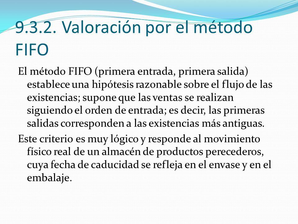 9.3.2. Valoración por el método FIFO El método FIFO (primera entrada, primera salida) establece una hipótesis razonable sobre el flujo de las existenc