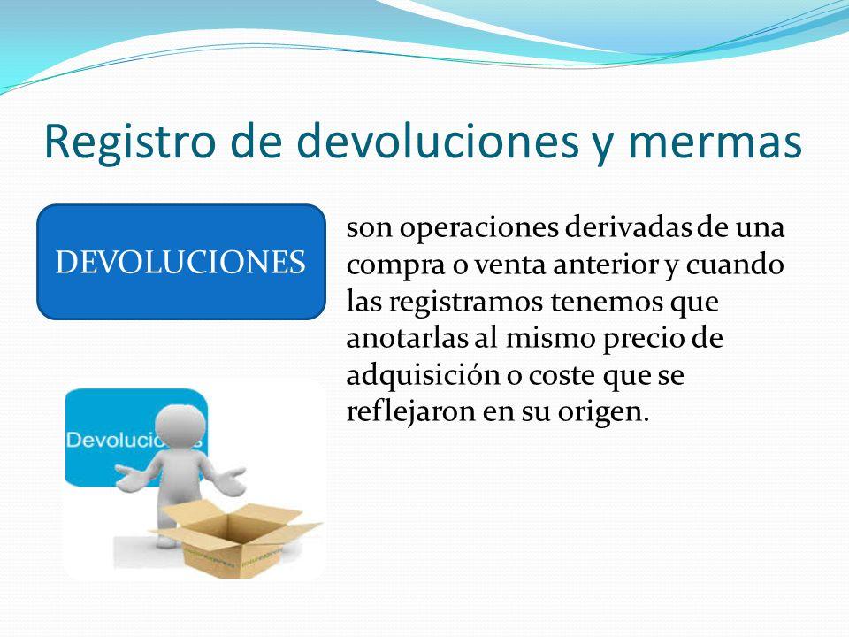 Registro de devoluciones y mermas son operaciones derivadas de una compra o venta anterior y cuando las registramos tenemos que anotarlas al mismo pre