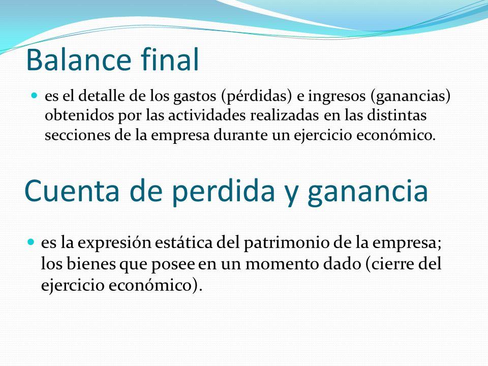Balance final es la expresión estática del patrimonio de la empresa; los bienes que posee en un momento dado (cierre del ejercicio económico). Cuenta