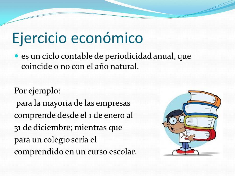 Ejercicio económico es un ciclo contable de periodicidad anual, que coincide o no con el año natural. Por ejemplo: para la mayoría de las empresas com