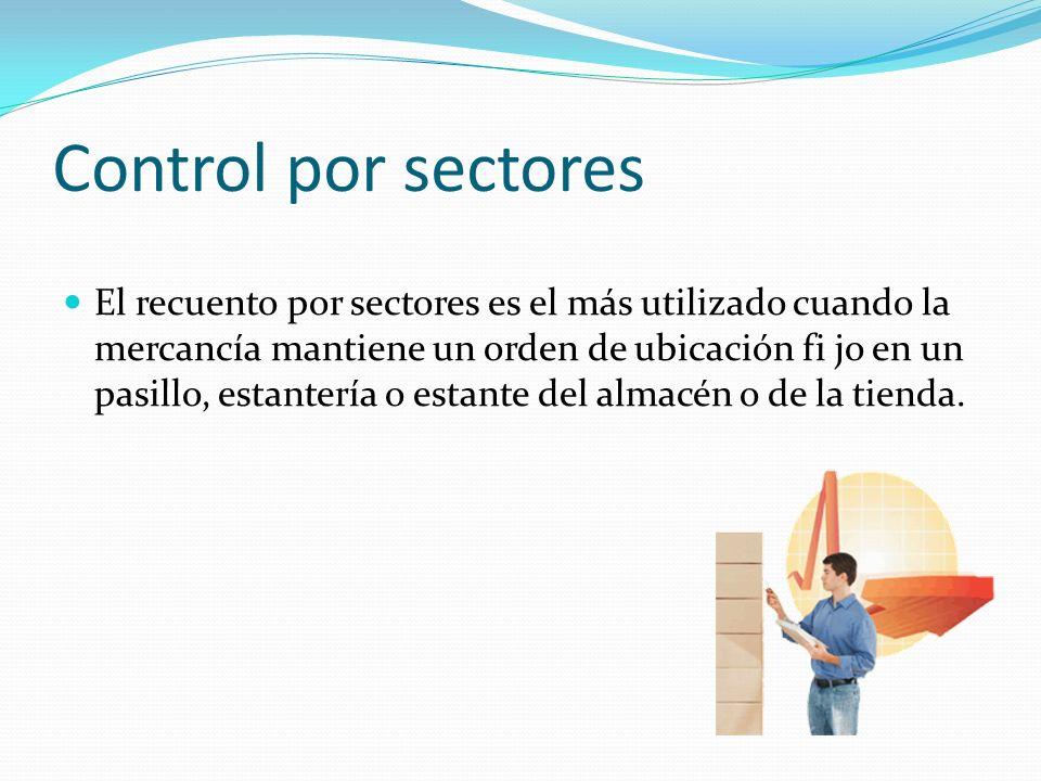 Control por sectores El recuento por sectores es el más utilizado cuando la mercancía mantiene un orden de ubicación fi jo en un pasillo, estantería o