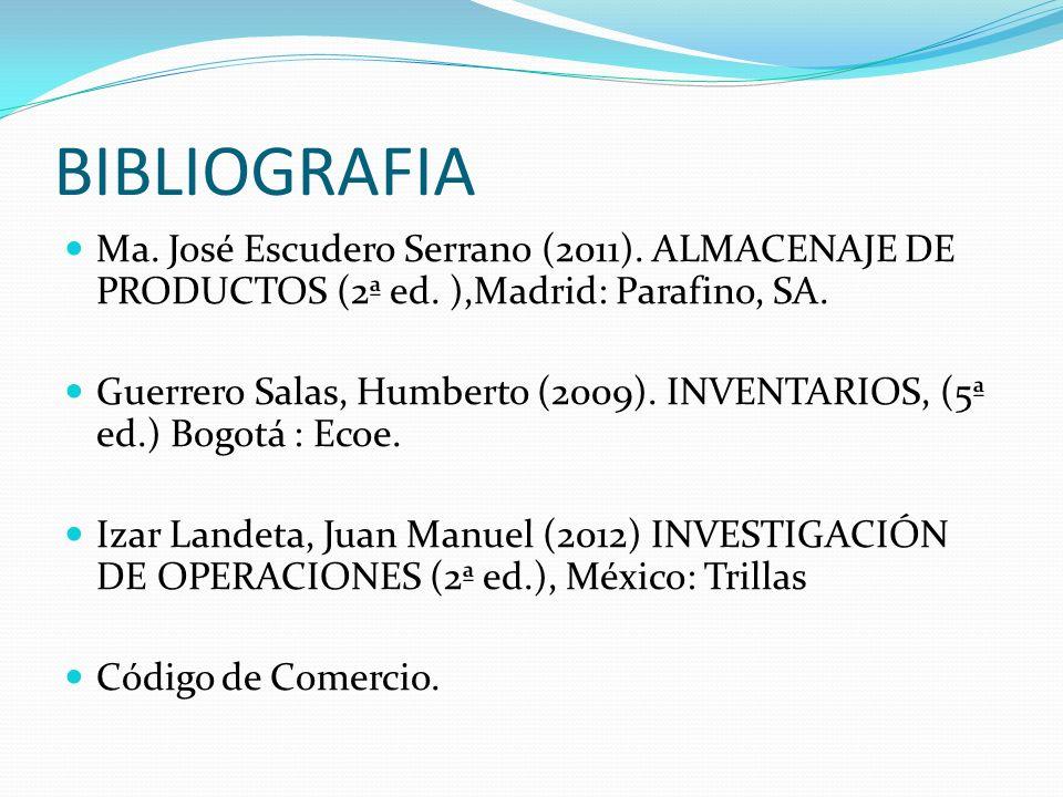 BIBLIOGRAFIA Ma. José Escudero Serrano (2011). ALMACENAJE DE PRODUCTOS (2ª ed. ),Madrid: Parafino, SA. Guerrero Salas, Humberto (2009). INVENTARIOS, (