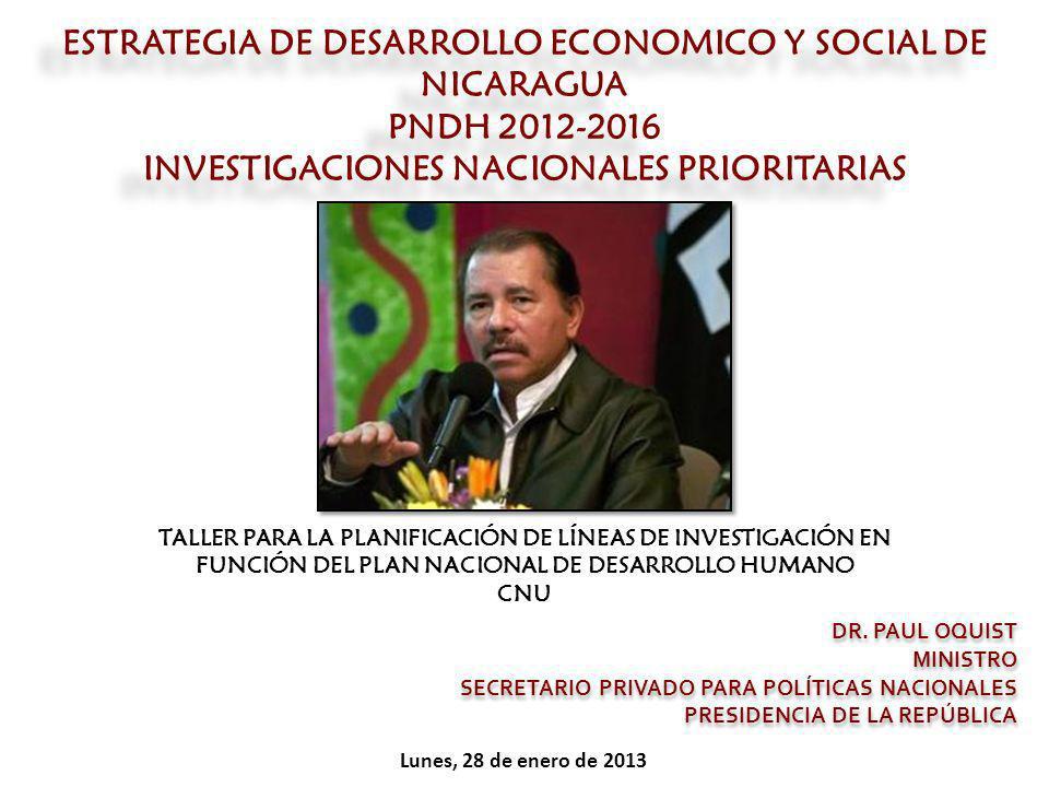 ESTRATEGIA DE DESARROLLO ECONOMICO Y SOCIAL DE NICARAGUA PNDH 2012-2016 INVESTIGACIONES NACIONALES PRIORITARIAS DR. PAUL OQUIST MINISTRO SECRETARIO PR