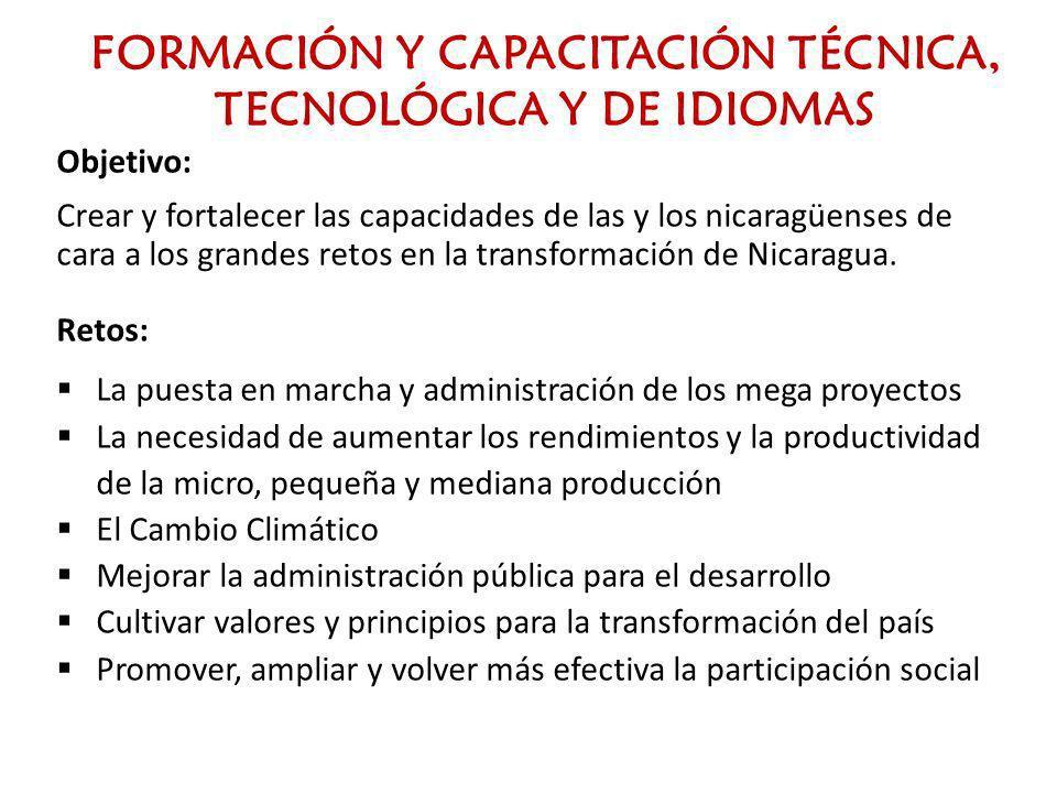 FORMACIÓN Y CAPACITACIÓN TÉCNICA, TECNOLÓGICA Y DE IDIOMAS Objetivo: Crear y fortalecer las capacidades de las y los nicaragüenses de cara a los grand
