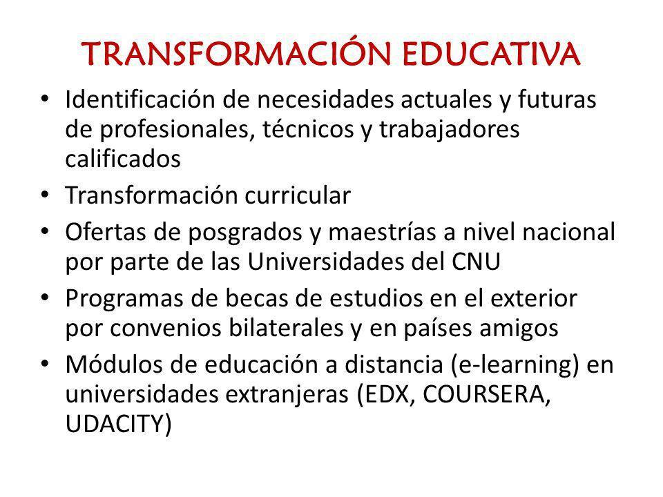 TRANSFORMACIÓN EDUCATIVA Identificación de necesidades actuales y futuras de profesionales, técnicos y trabajadores calificados Transformación curricu