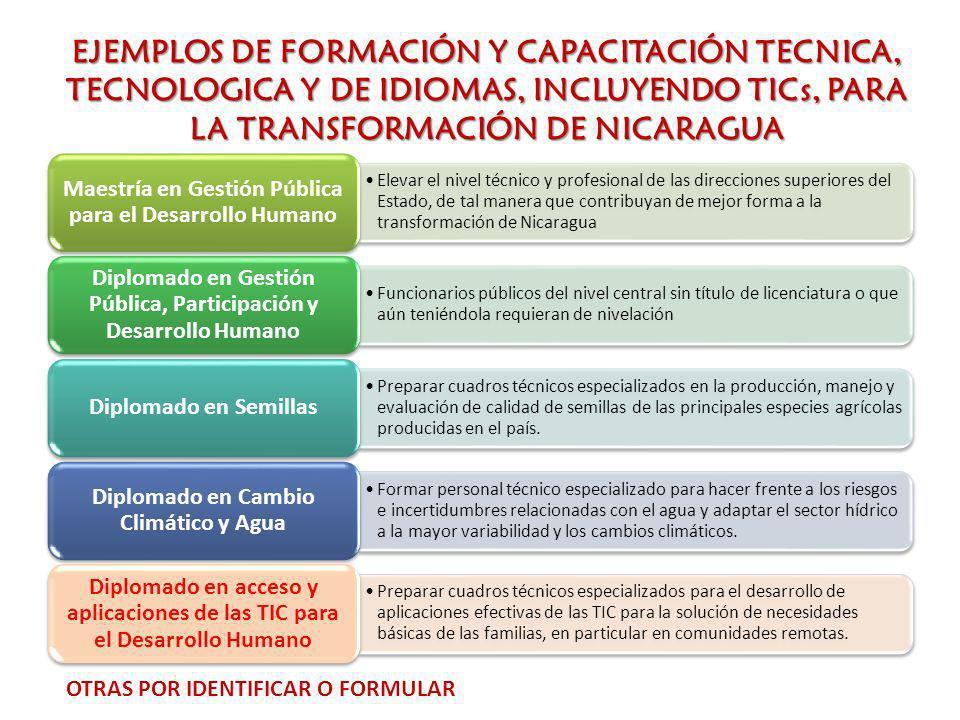 EJEMPLOS DE FORMACIÓN Y CAPACITACIÓN TECNICA, TECNOLOGICA Y DE IDIOMAS, INCLUYENDO TICs, PARA LA TRANSFORMACIÓN DE NICARAGUA Elevar el nivel técnico y