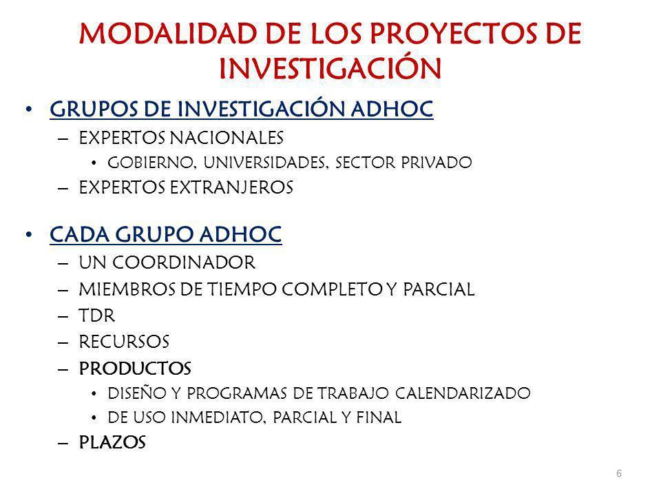 MODALIDAD DE LOS PROYECTOS DE INVESTIGACIÓN GRUPOS DE INVESTIGACIÓN ADHOC – EXPERTOS NACIONALES GOBIERNO, UNIVERSIDADES, SECTOR PRIVADO – EXPERTOS EXT