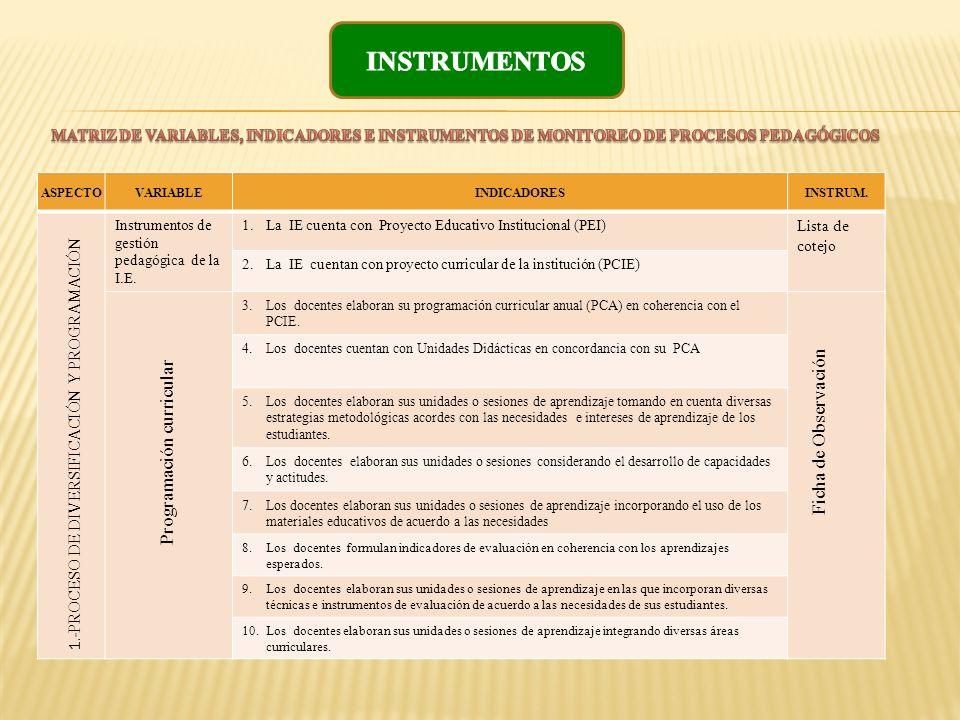 ASPECTOVARIABLE INDICADORES INSTRUM. Instrumentos de gestión pedagógica de la I.E. 1.La IE cuenta con Proyecto Educativo Institucional (PEI) Lista de