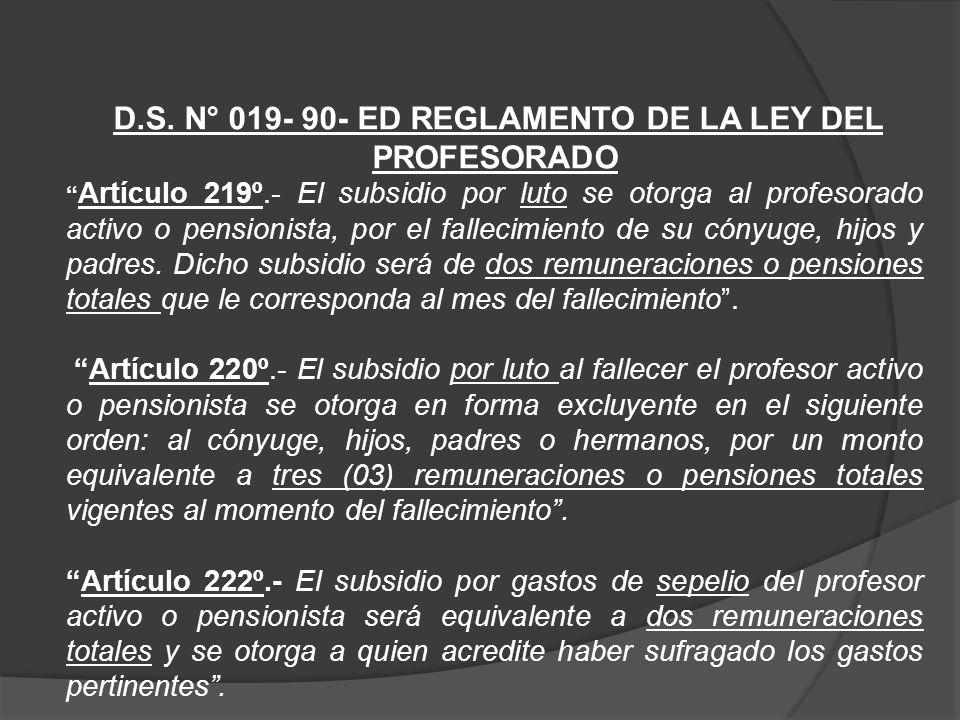 GASTOS POR SEPELIO CARGO: Docente CARGO: Profesor CATEGORÍA REMUNERATIVA: II Nivel PERIODO DE CÁLCULO: 10-2012 SUBSIDIO: Luto y gastos de sepelio Conceptos Ley del Profesorado y Resolución N°001-2011- SERVIR/TSC Decreto Supremo N°051-91-PCM Informe Legal N°524- 2012-SERVIR/GPGSC(*)
