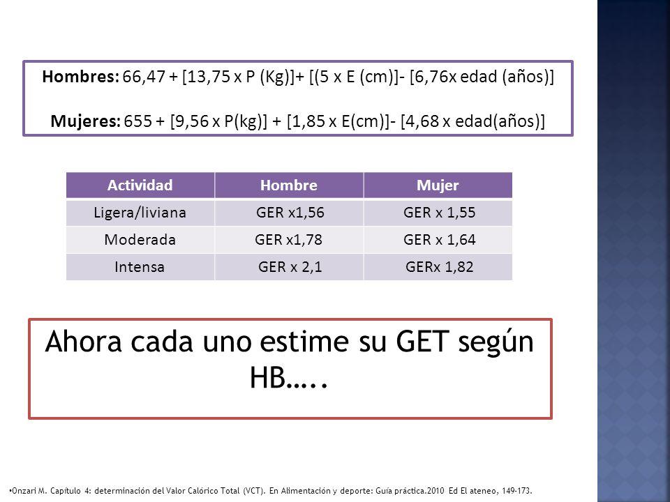 Hombres: 66,47 + [13,75 x P (Kg)]+ [(5 x E (cm)]- [6,76x edad (años)] Mujeres: 655 + [9,56 x P(kg)] + [1,85 x E(cm)]- [4,68 x edad(años)] ActividadHom