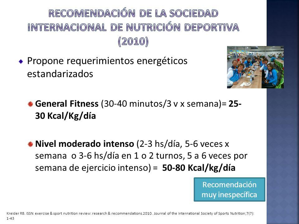 Propone requerimientos energéticos estandarizados General Fitness (30-40 minutos/3 v x semana)= 25- 30 Kcal/Kg/día Nivel moderado intenso (2-3 hs/día,