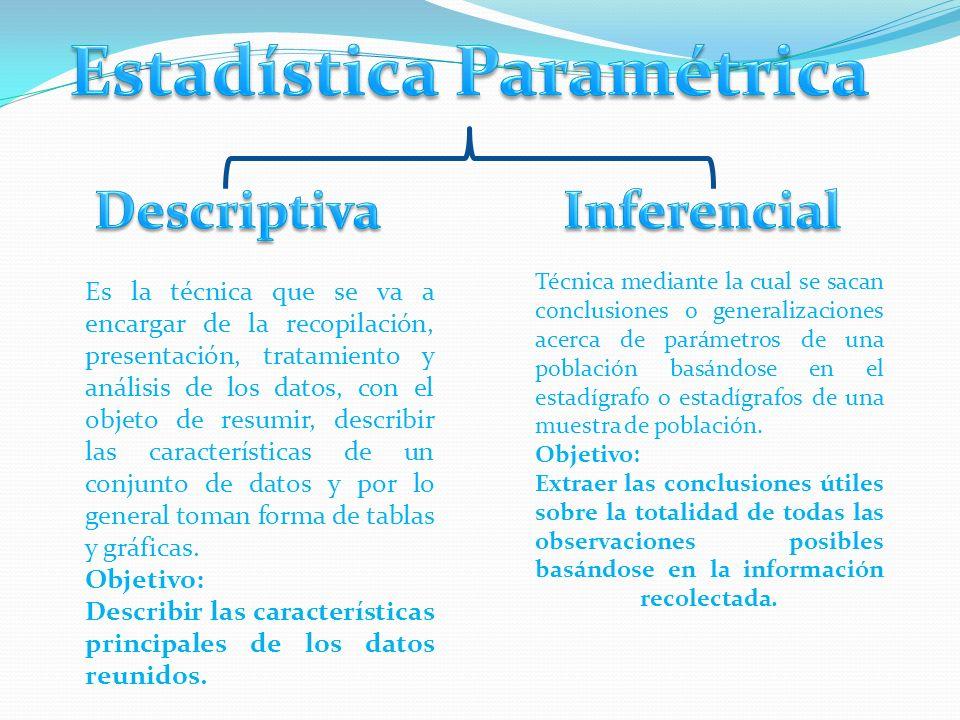 Es la técnica que se va a encargar de la recopilación, presentación, tratamiento y análisis de los datos, con el objeto de resumir, describir las características de un conjunto de datos y por lo general toman forma de tablas y gráficas.