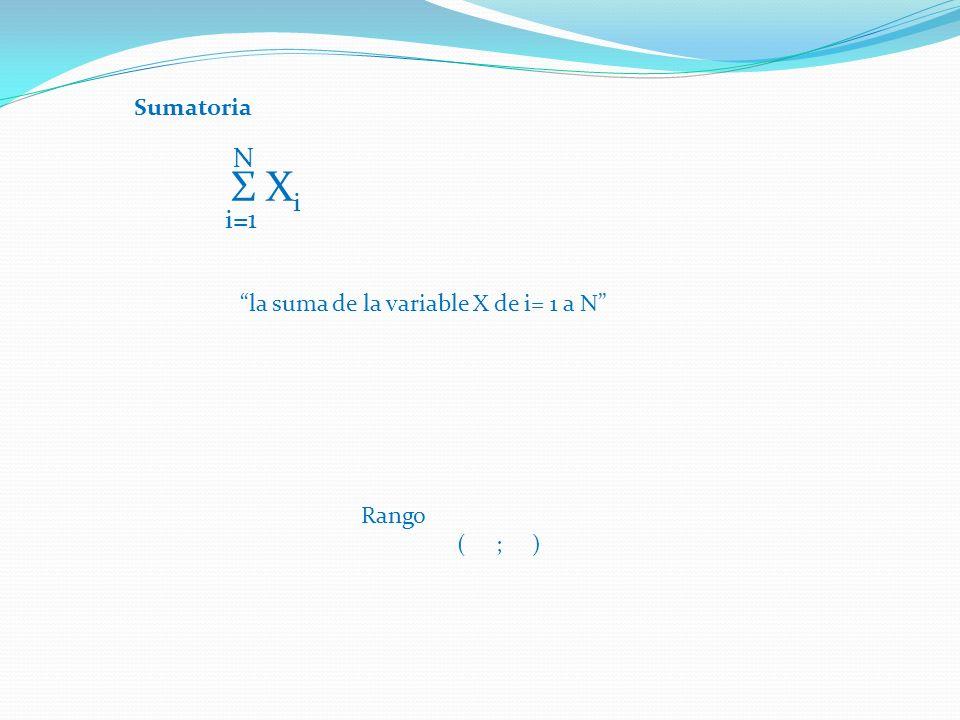 Sumatoria Σ X i N i=1 la suma de la variable X de i= 1 a N Rango ( ; )