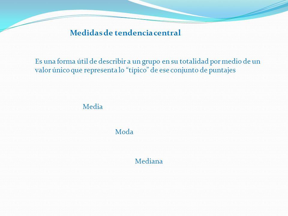 Medidas de tendencia central Es una forma útil de describir a un grupo en su totalidad por medio de un valor único que representa lo típico de ese conjunto de puntajes Media Moda Mediana