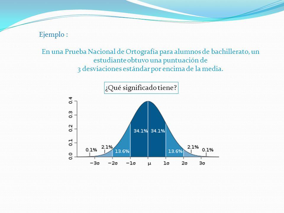 Ejemplo : En una Prueba Nacional de Ortografía para alumnos de bachillerato, un estudiante obtuvo una puntuación de 3 desviaciones estándar por encima de la media.