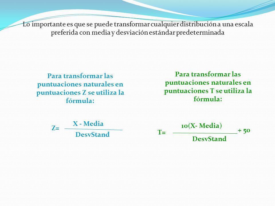 Lo importante es que se puede transformar cualquier distribución a una escala preferida con media y desviación estándar predeterminada Para transformar las puntuaciones naturales en puntuaciones T se utiliza la fórmula: T= 10(X- Media) DesvStand + 50 Para transformar las puntuaciones naturales en puntuaciones Z se utiliza la fórmula: Z= X - Media DesvStand