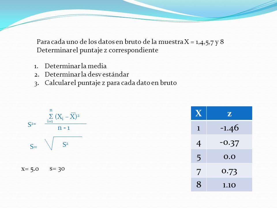 Para cada uno de los datos en bruto de la muestra X = 1,4,5,7 y 8 Determinar el puntaje z correspondiente 1.Determinar la media 2.Determinar la desv estándar 3.Calcular el puntaje z para cada dato en bruto S 2= Σ (X i – X) 2 i=1 n n - 1 S= S2S2 s= 30 x= 5.0 Xz 1-1.46 4-0.37 50.0 70.73 81.10