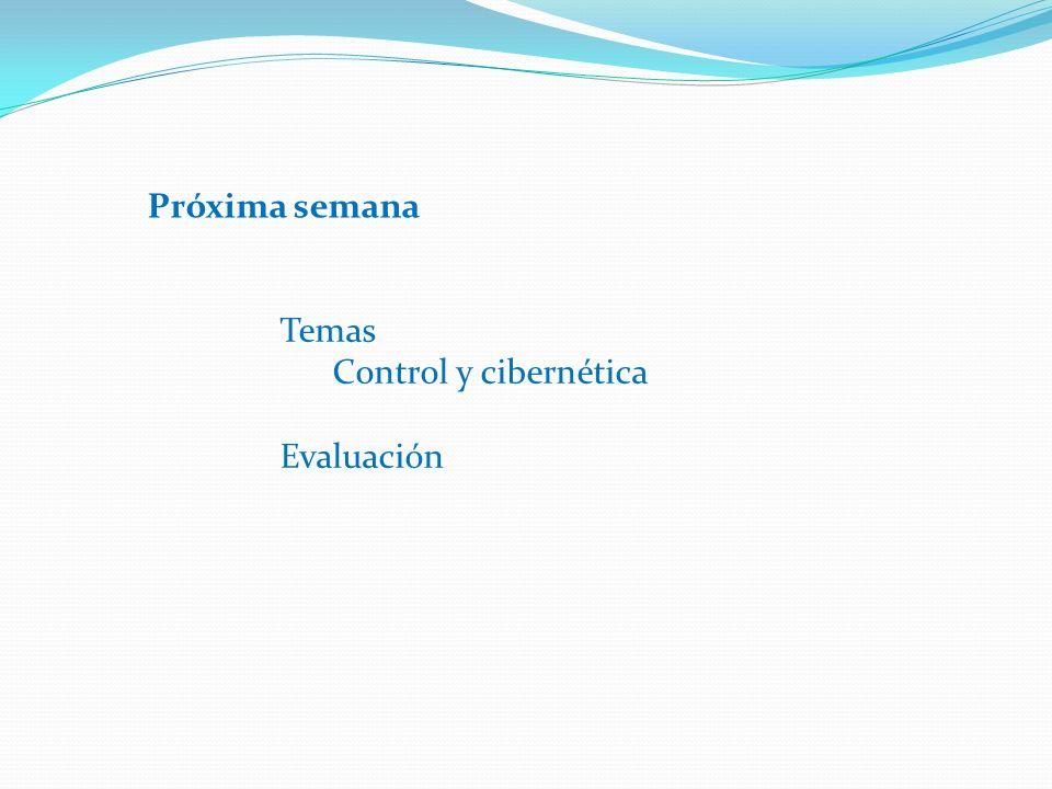 Temas Control y cibernética Evaluación Próxima semana