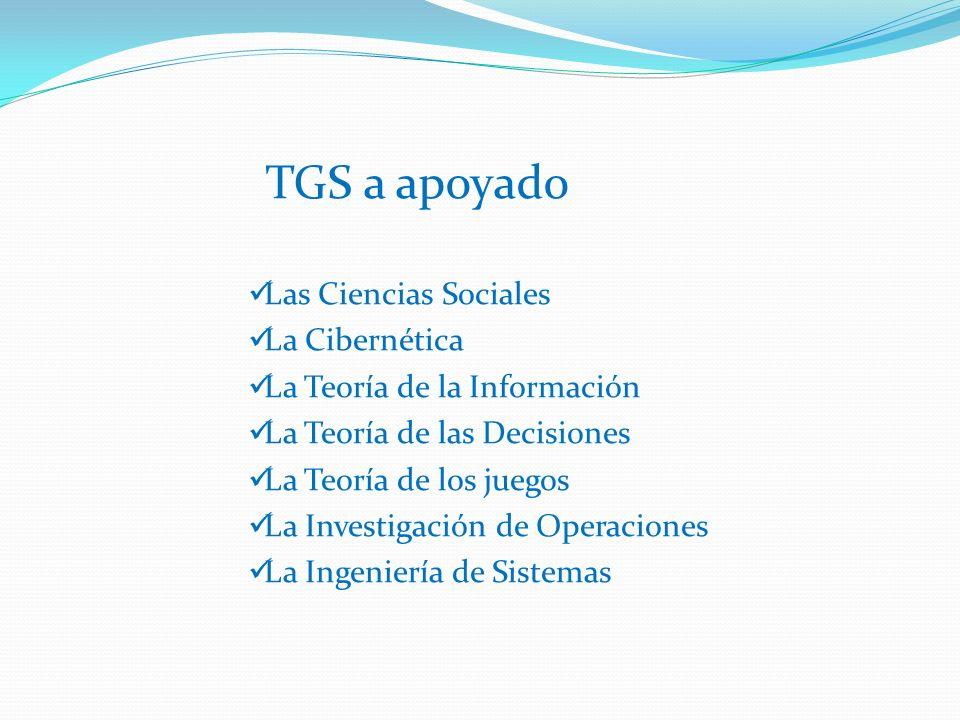 Las Ciencias Sociales La Cibernética La Teoría de la Información La Teoría de las Decisiones La Teoría de los juegos La Investigación de Operaciones La Ingeniería de Sistemas TGS a apoyado