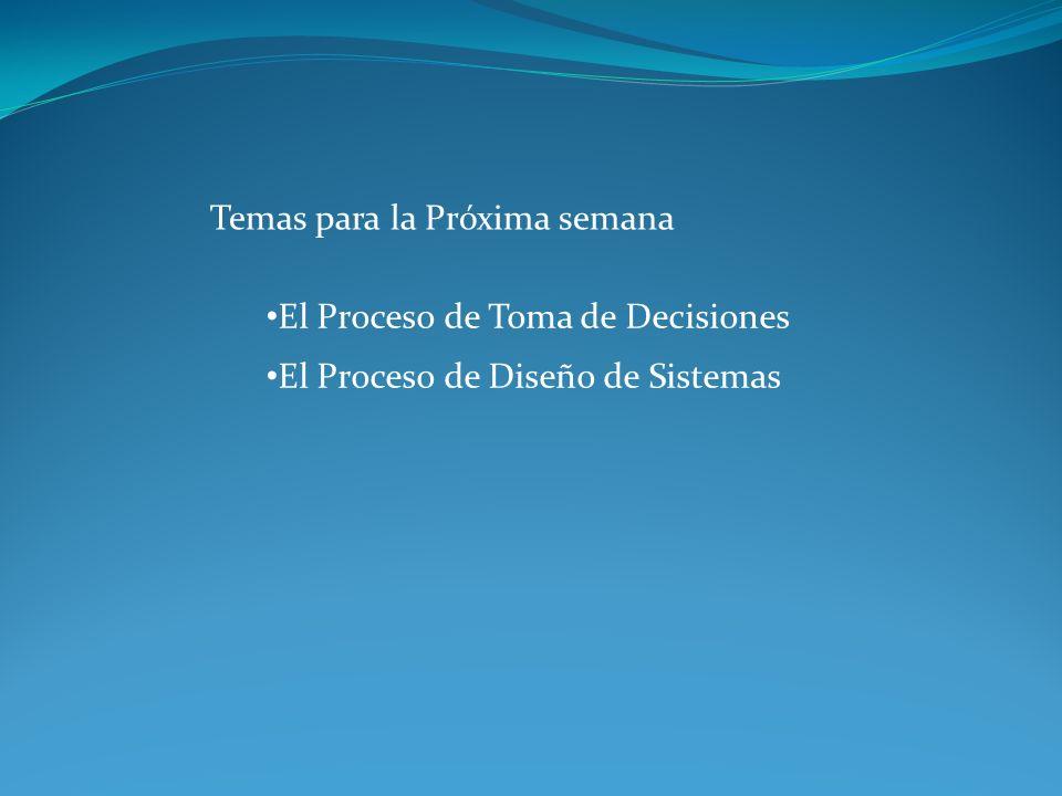 Temas para la Próxima semana El Proceso de Toma de Decisiones El Proceso de Diseño de Sistemas