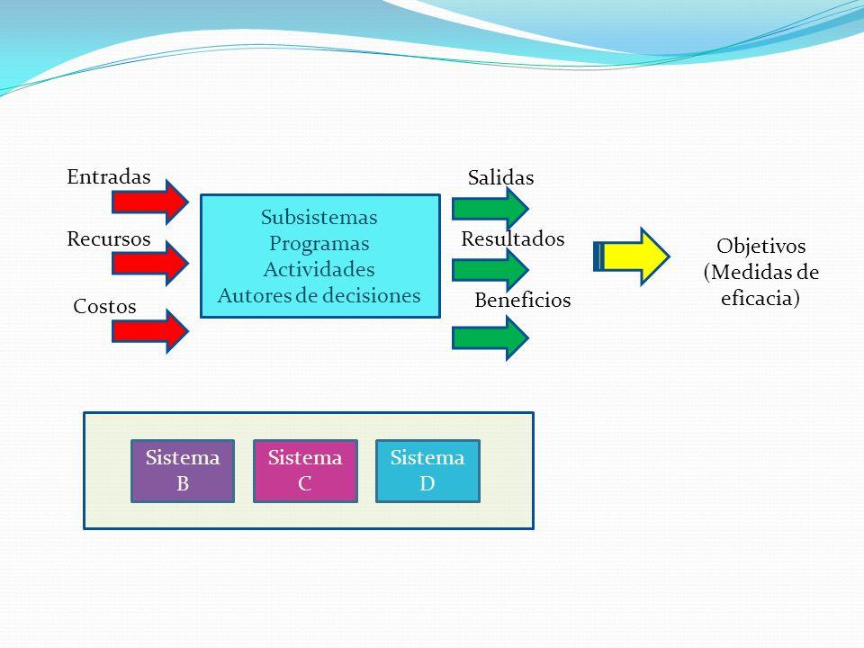 Subsistemas Programas Actividades Autores de decisiones Entradas Recursos Costos Salidas Resultados Beneficios Objetivos (Medidas de eficacia) Sistema B Sistema C Sistema D