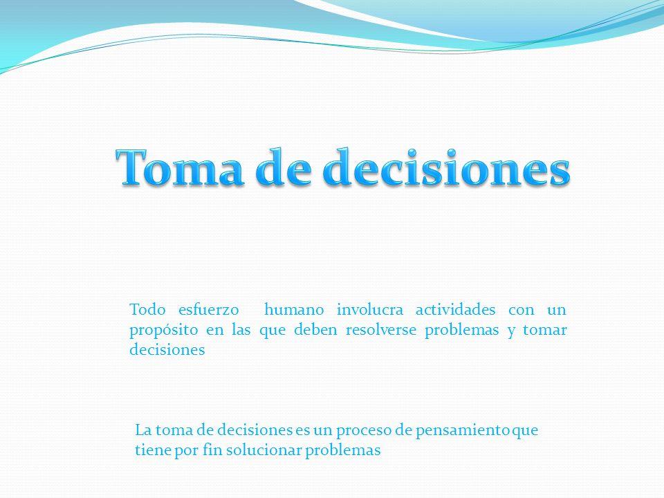 Todo esfuerzo humano involucra actividades con un propósito en las que deben resolverse problemas y tomar decisiones La toma de decisiones es un proceso de pensamiento que tiene por fin solucionar problemas