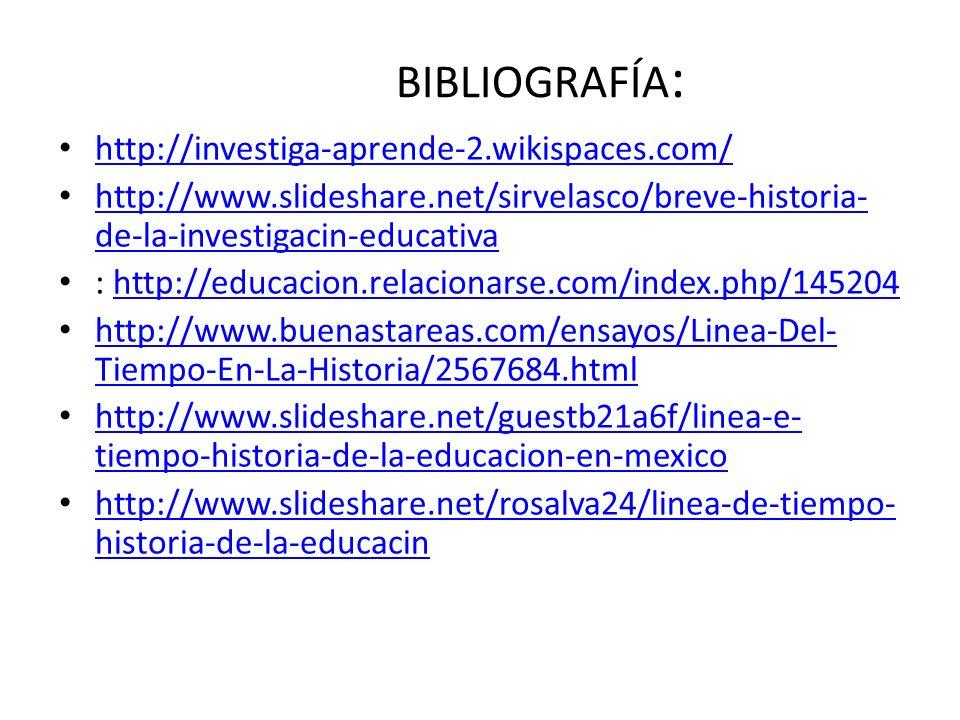 BIBLIOGRAFÍA : http://investiga-aprende-2.wikispaces.com/ http://www.slideshare.net/sirvelasco/breve-historia- de-la-investigacin-educativa http://www