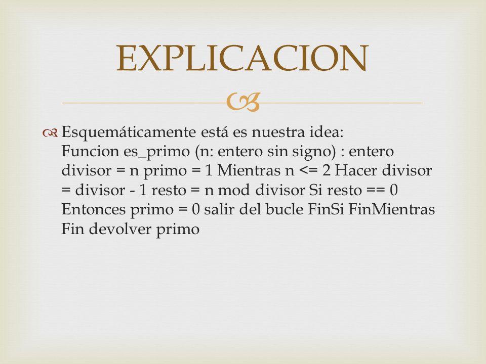 Esquemáticamente está es nuestra idea: Funcion es_primo (n: entero sin signo) : entero divisor = n primo = 1 Mientras n <= 2 Hacer divisor = divisor -