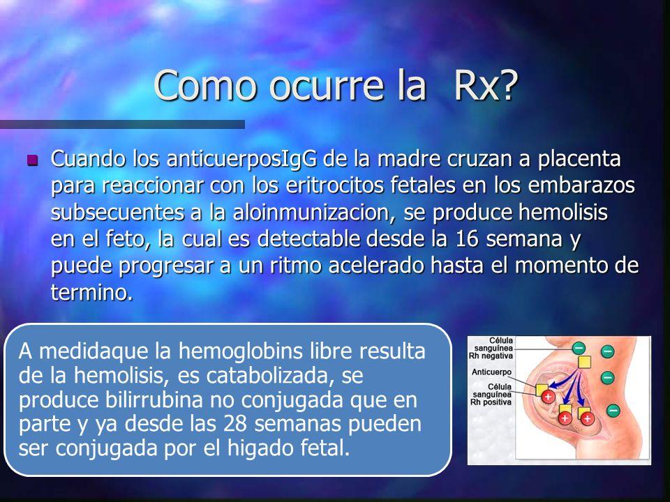 Como ocurre la Rx? n Cuando los anticuerposIgG de la madre cruzan a placenta para reaccionar con los eritrocitos fetales en los embarazos subsecuentes