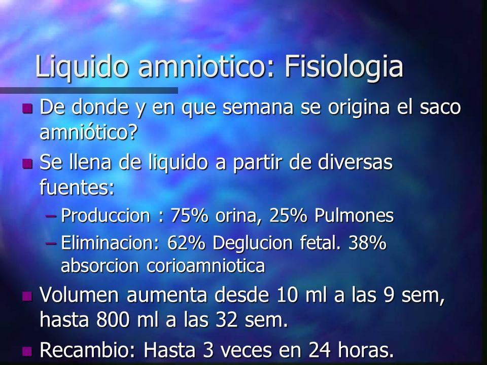 Liquido amniotico: Fisiologia n De donde y en que semana se origina el saco amniótico.