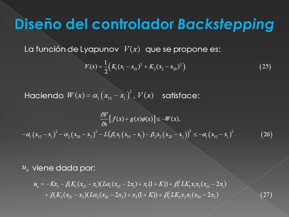 La función de Lyapunov que se propone es: Haciendo satisface: viene dada por: