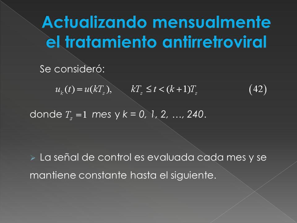 Se consideró: donde mes y k = 0, 1, 2, …, 240. La señal de control es evaluada cada mes y se mantiene constante hasta el siguiente.