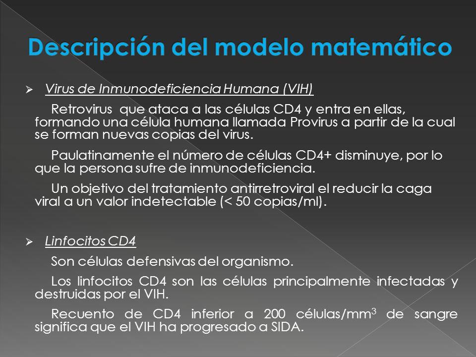 El modelo del VIH desarrollado por Campello (1999) es: donde: - concentración de linfocitos T-CD4 en sangre ( ).