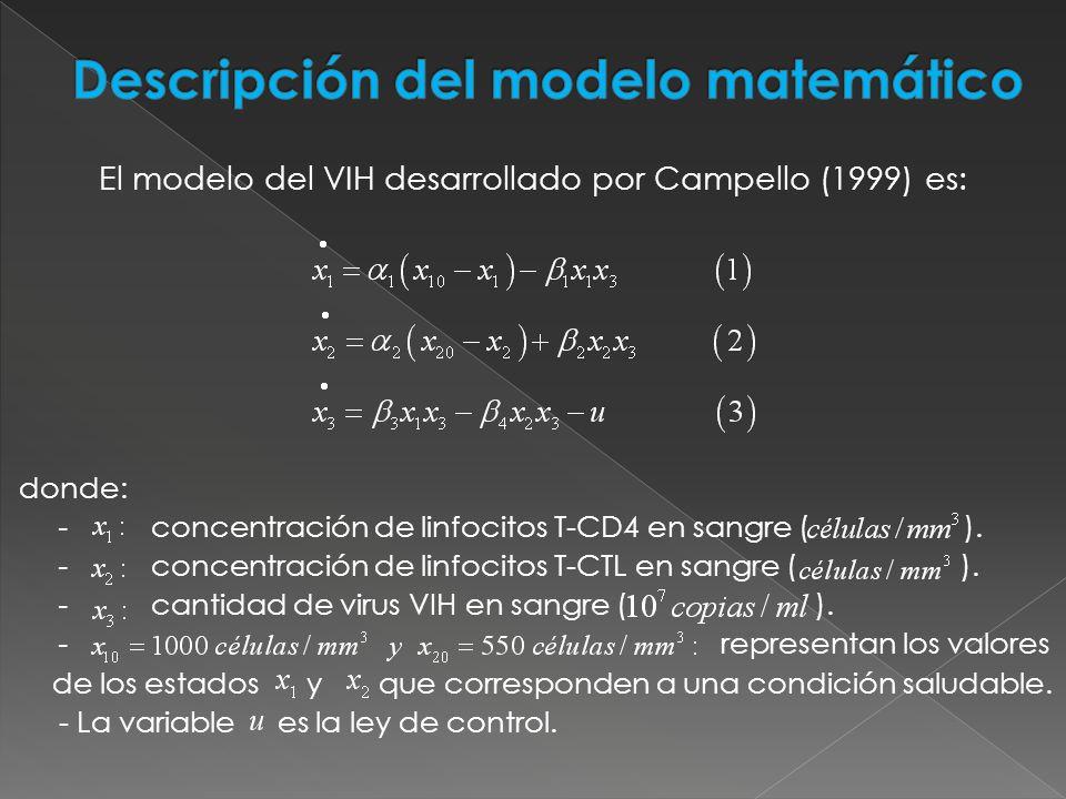 El modelo del VIH desarrollado por Campello (1999) es: donde: - concentración de linfocitos T-CD4 en sangre ( ). - concentración de linfocitos T-CTL e