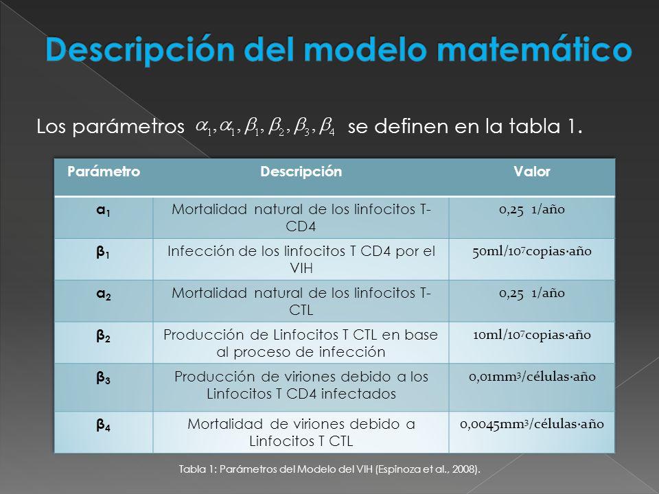 Los parámetros se definen en la tabla 1. Tabla 1: Parámetros del Modelo del VIH (Espinoza et al., 2008).