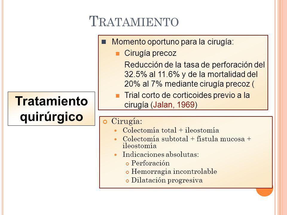 T RATAMIENTO Tratamiento quirúrgico Cirugía: Colectomía total + ileostomía Colectomía subtotal + fístula mucosa + ileostomía Indicaciones absolutas: P