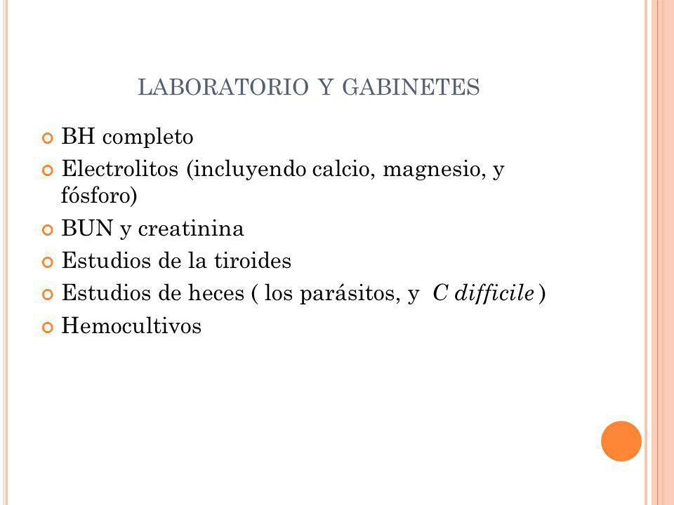LABORATORIO Y GABINETES BH completo Electrolitos (incluyendo calcio, magnesio, y fósforo) BUN y creatinina Estudios de la tiroides Estudios de heces (