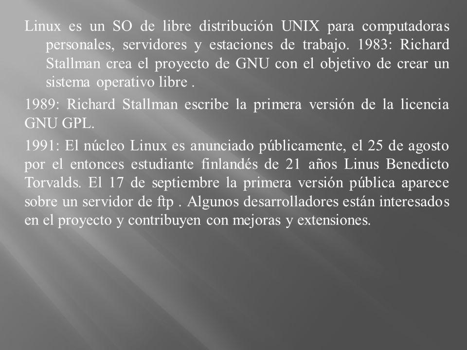 Linux es un SO de libre distribución UNIX para computadoras personales, servidores y estaciones de trabajo. 1983: Richard Stallman crea el proyecto de