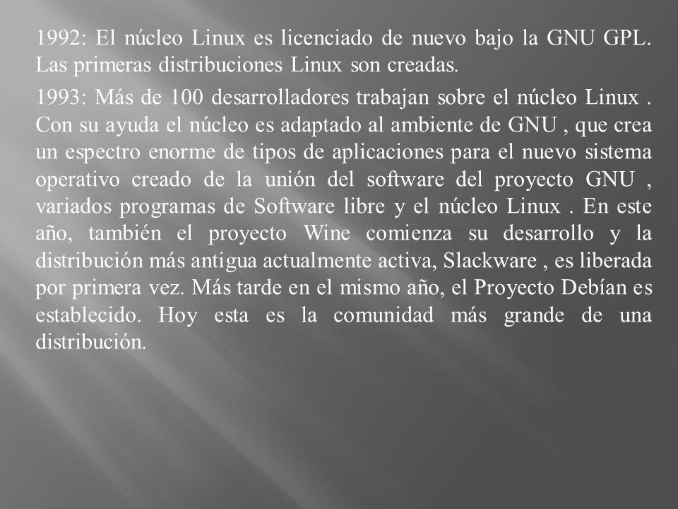 1992: El núcleo Linux es licenciado de nuevo bajo la GNU GPL. Las primeras distribuciones Linux son creadas. 1993: Más de 100 desarrolladores trabajan