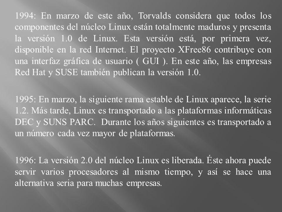 1994: En marzo de este año, Torvalds considera que todos los componentes del núcleo Linux están totalmente maduros y presenta la versión 1.0 de Linux.